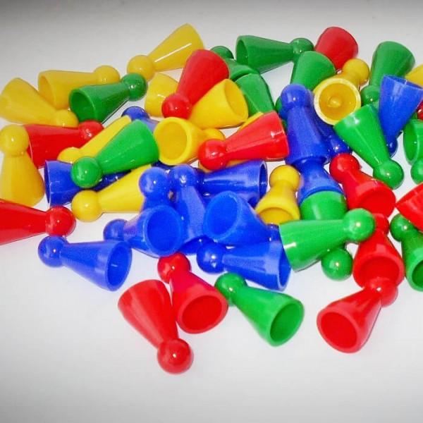 """60 Stück Halmakegel """"Standard"""" aus Kunststoff (25 mm), 4 Farben gemischt"""