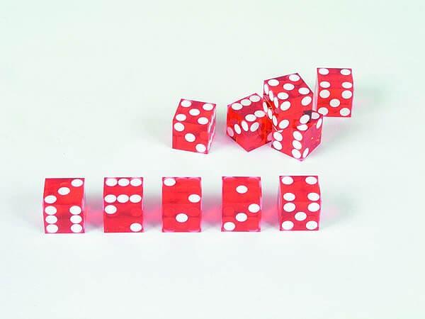 5 Stück Casinowürfel, rot