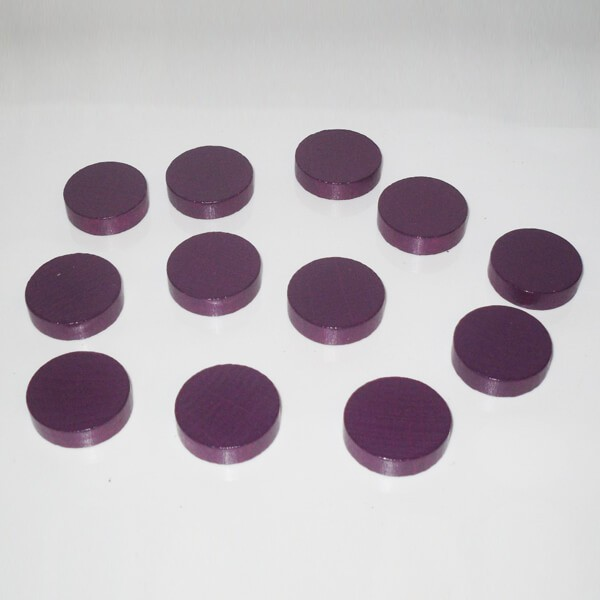 100 Spielchips, Roulette-Spielmarken, Zählchips aus Holz, lila (25 x 7 mm)