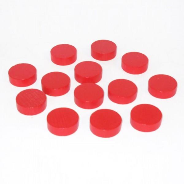 100 Spielchips, Roulette Spielmarken, Zählchips aus Holz, rot (21 x 7 mm)