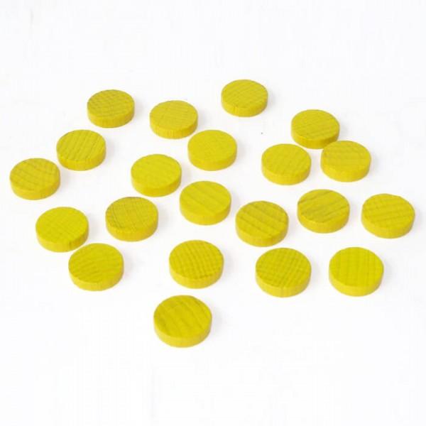 100 Spielchips, Roulette Spielmarken, Zählchips aus Holz, gelb (15 x 4 mm)