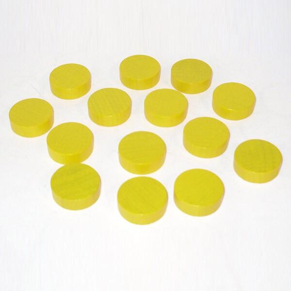 100 Spielchips, Roulette-Spielmarken, Zählchips aus Holz, gelb (25 x 7 mm)