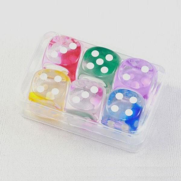 "6er-Set Würfel aus Acrylglas ""Crystal"" (16 mm), gemischt"