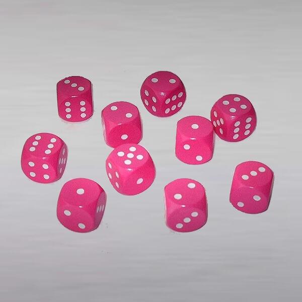 10 Würfel aus Ahornholz (16 mm), pink