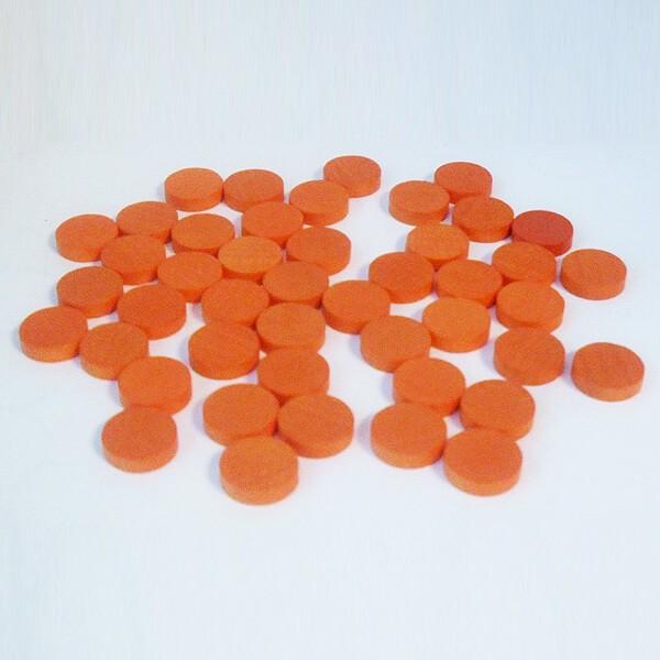 100 Spielchips, Roulette-Spielmarken, Zählchips aus Holz, orange (15 x 4 mm)