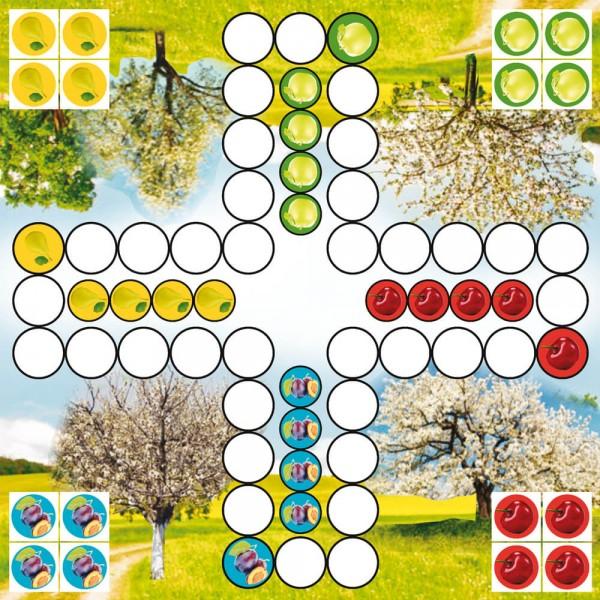 Selbsthaftender Spielplan Ludo Obstbäume, 30x30 cm