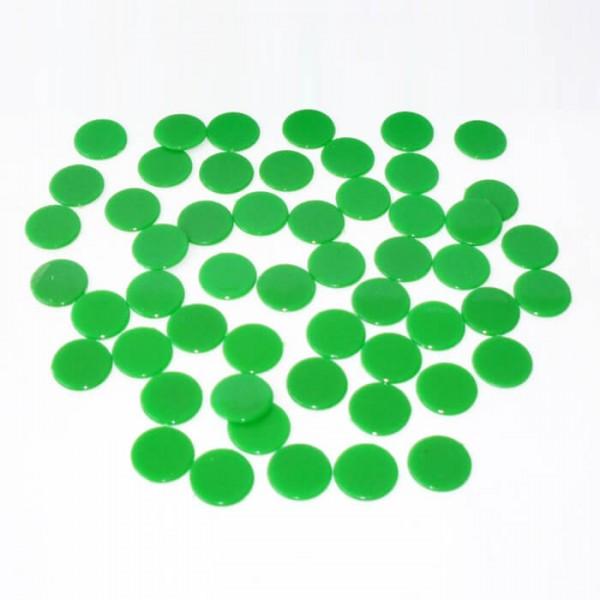 100 Roulette-Spielmarken, Spielchips, Zählchips aus Kunststoff grün (15 mm)
