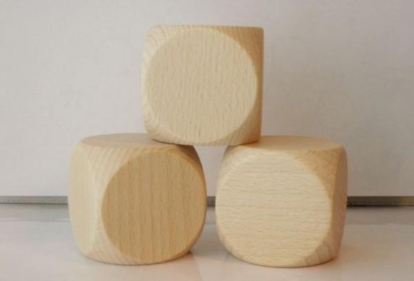3 Blankowürfel aus Ahornholz (60 mm), natur