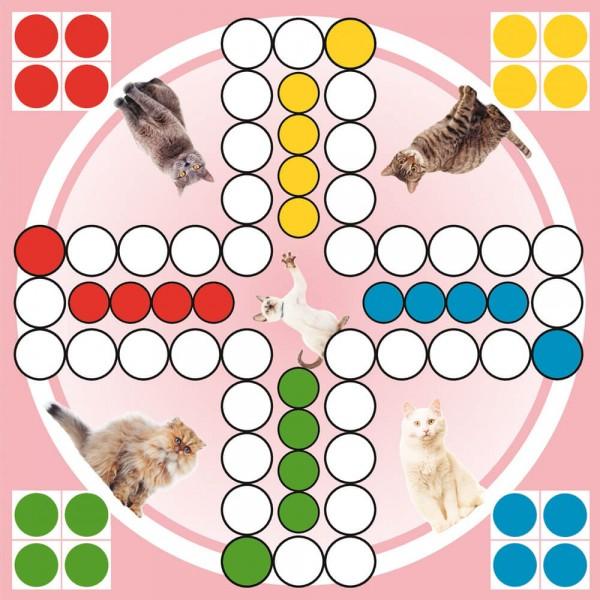 Selbsthaftender Spielplan Ludo Katzen, 30x30 cm