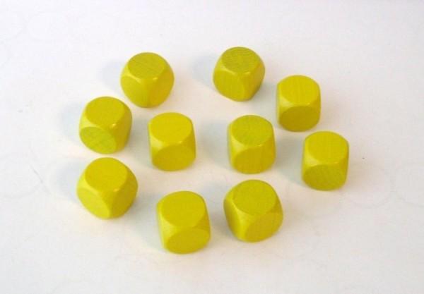 10er-Set Blankowürfel aus Ahornholz (20 mm), gelb