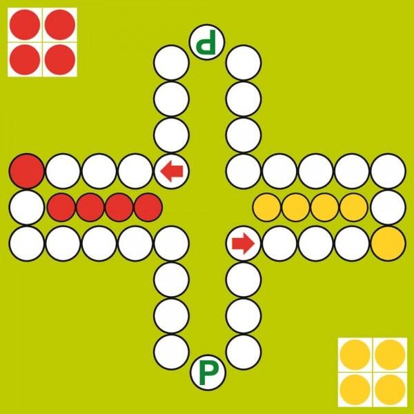 Selbsthaftender Spielplan Ludo für 2 Personen, 30x30 cm