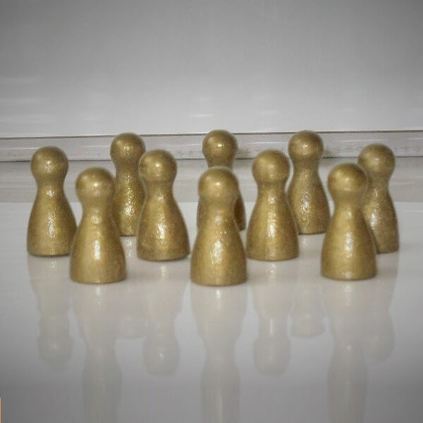100 Stück Halmakegel aus Holz (25 mm), gold