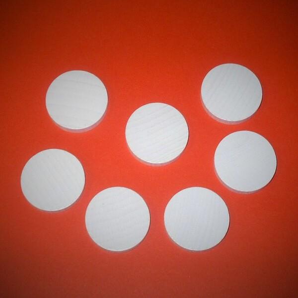 20 Spielchips, Roulette-Spielmarken, Zählchips aus Holz, weiß (34 x 7 mm)