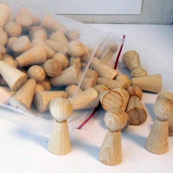 """100 Stück Halmakegel """"Eleganca"""" aus Holz (36 x 15 mm), natur"""