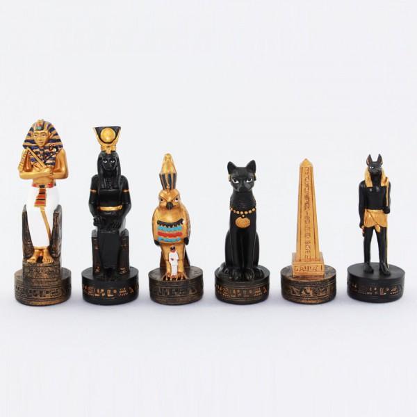 Schachfiguren Ägypten schwarz/gold