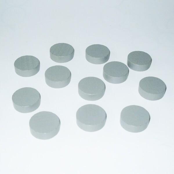 100 Spielchips, Roulette-Spielmarken, Zählchips aus Holz, grau (21 x 7 mm)