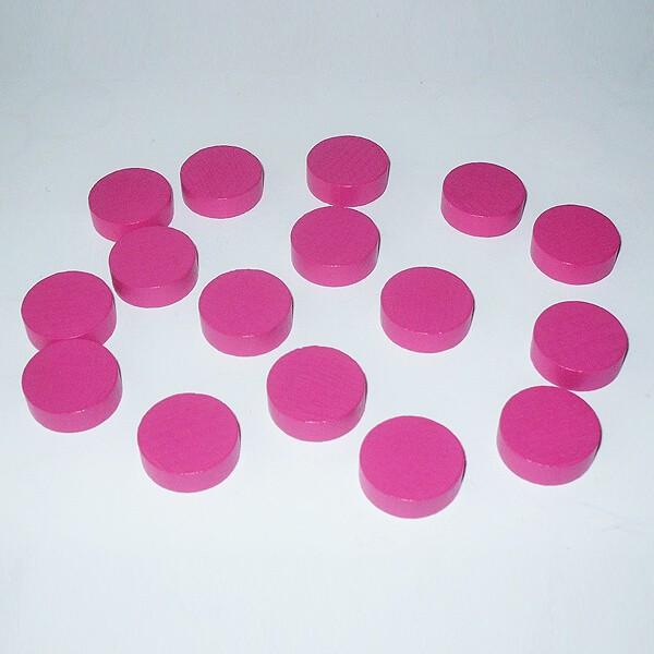100 Spielchips, Roulette-Spielmarken, Zählchips aus Holz, pink (21 x 7 mm)