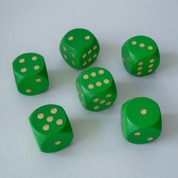 6 Würfel XL aus Ahornholz (20 mm), grün