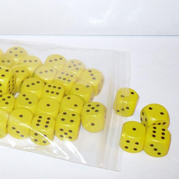 50 Würfel aus Ahornholz (16 mm), gelb