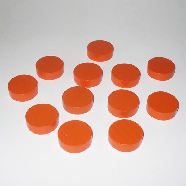 100 Spielchips, Roulette-Spielmarken, Zählchips aus Holz, orange (21 x 7 mm)