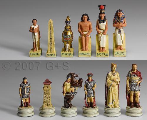 Schachfiguren Rom vs. Ägypten