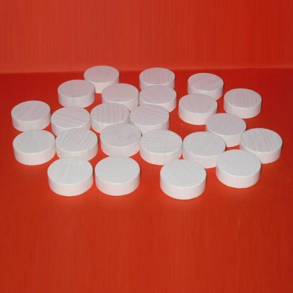 100 Spielchips, Roulette Spielmarken, Zählchips aus Holz, weiß (21 x 7 mm)