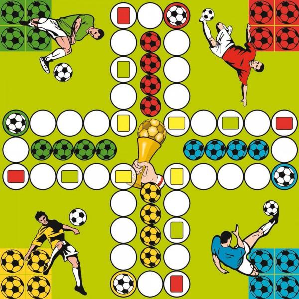 Selbsthaftender Spielplan Ludo Fußballprofis, 30x30 cm