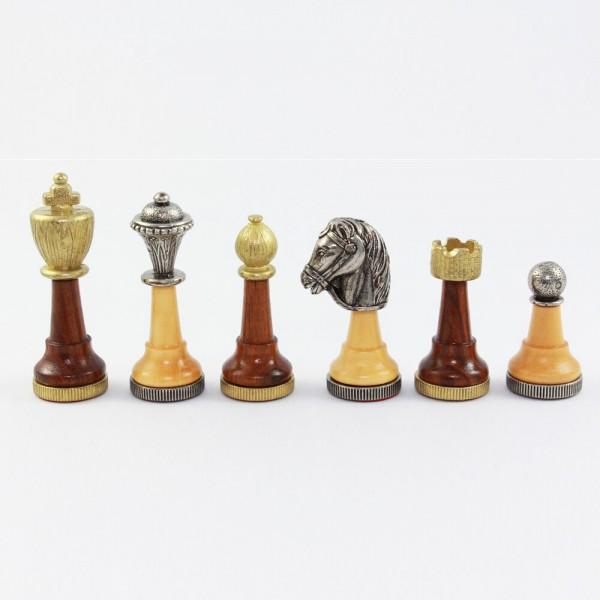 Schachfiguren Staunton-Form aus Metall und Holz, (K75)
