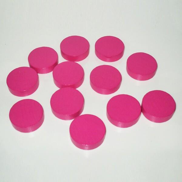 100 Spielchips, Roulette-Spielmarken, Zählchips aus Holz, pink (25 x 7 mm)