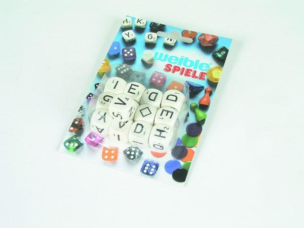 13 Stück Buchstabenwürfel aus Holz