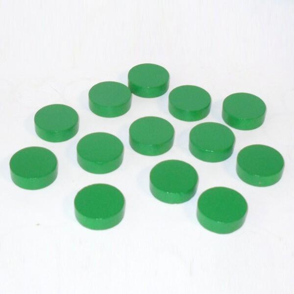 20 Spielchips, Roulette-Spielmarken, Zählchips aus Holz, grün (30 x 8 mm)