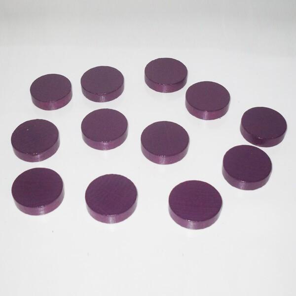 20 Spielchips, Roulette-Spielmarken, Zählchips aus Holz, lila (30 x 8 mm)