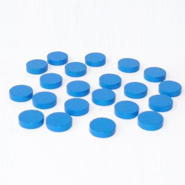 100 Spielchips, Roulette Spielmarken, Zählchips aus Holz, blau (15 x 4 mm)