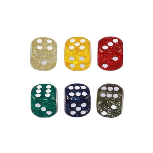 """50 Stück Würfel aus Acrylglas """"Glitter"""" (16 mm), gemischt"""