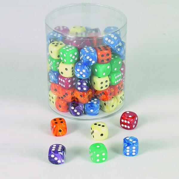 "100 Stück Würfel aus Acrylglas ""Marmor"" (16 mm), gemischt"