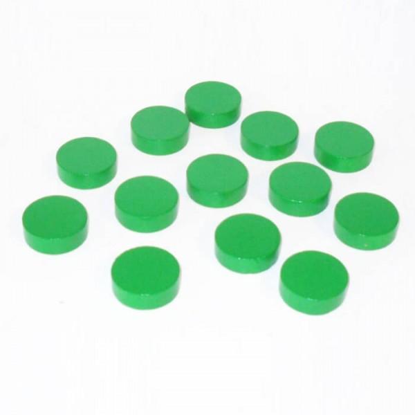 100 Spielchips, Roulette Spielmarken, Zählchips aus Holz, grün (21 x 7 mm)