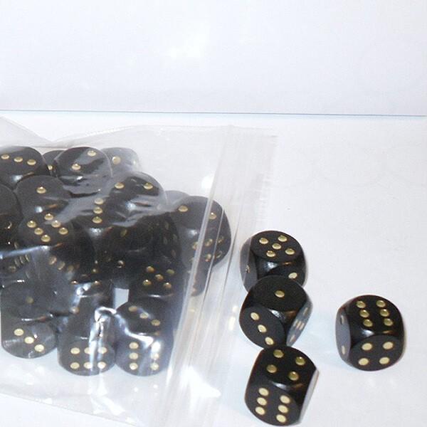 50 Würfel aus Ahornholz (16 mm), schwarz