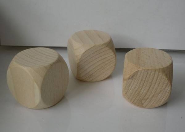 3 Blankowürfel aus Ahornholz (50 mm), natur