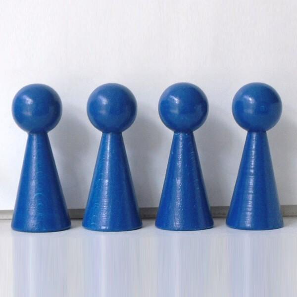 "4 Figurenkegel , Spielfigur , Halmakegel ""Gigant"" aus Holz (100 mm), blau"