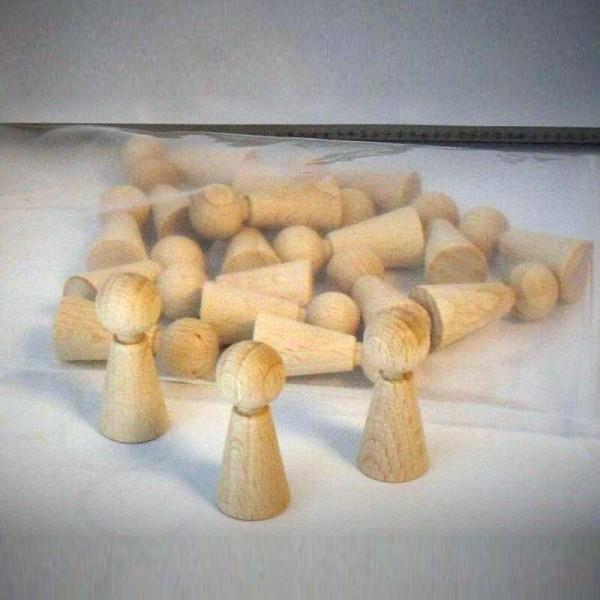 "20 Stück Halmakegel ""Eleganca""- Spielfiguren aus Holz (36 mm), natur"