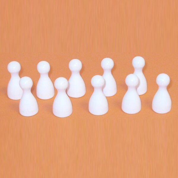 100 Stück Halmakegel aus Holz (25 mm), weiß