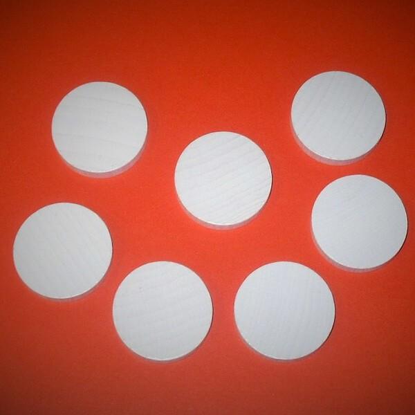 20 Spielchips, Roulette-Spielmarken, Zählchips aus Holz, weiß (30 x 8 mm)
