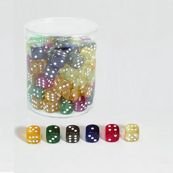"""100 Stück Würfel aus Acrylglas """"Glitter"""" (16 mm),gemischt"""