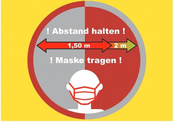 10 Stück Corona Regeln Abstand Schild Markierung Hinweisschild Abstandsregeln A6 gelb
