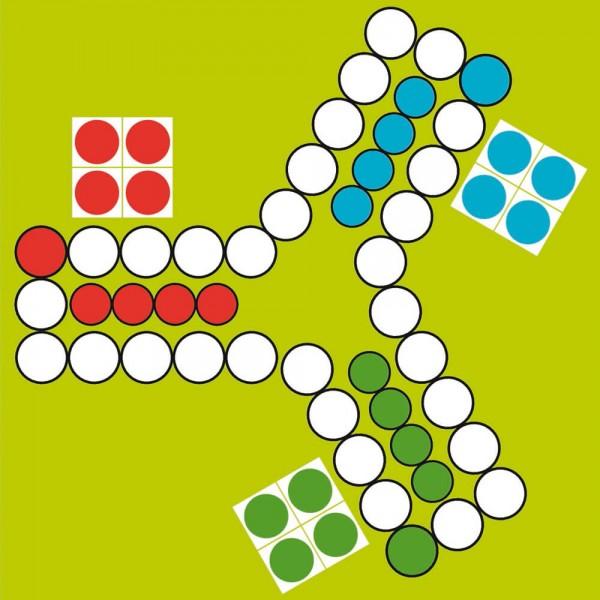 Selbsthaftender Spielplan Ludo für 3 Personen, 30x30 cm