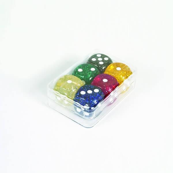"""6 Stück Würfel aus Acrylglas """"Glitter"""" (16 mm), gemischt"""