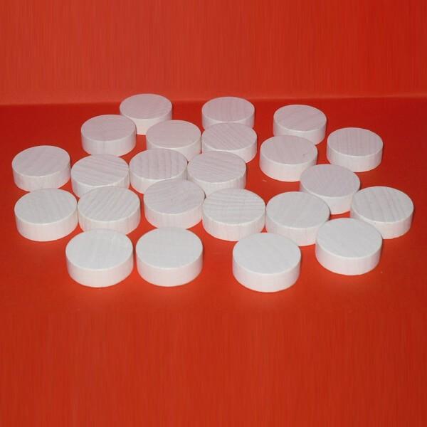 100 Spielchips, Roulette-Spielmarken, Zählchips aus Holz, weiß (25 x 7 mm)