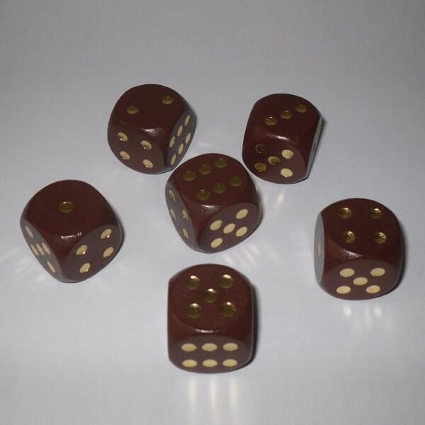 6 Würfel XL aus Ahornholz (20 mm), braun